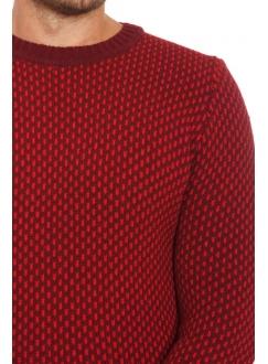 Джемпер червоно-бордовий вовняний в узор