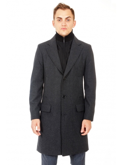 Пальто сіре  вовняне в клітинку