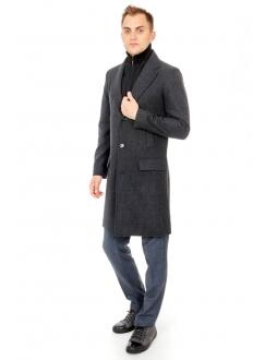 Пальто серое шерстяное в клетку