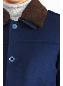 Пальто синее шерстяное