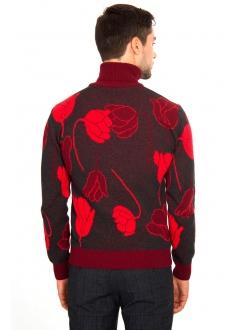 Свитер черно-красный шерстяной в цветы
