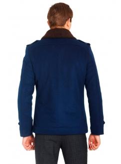Пальто синє вовняне