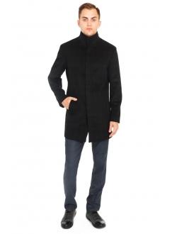 Пальто черное в клетку шерстяное