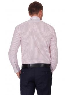 Рубашка белая классическая в красную полоску