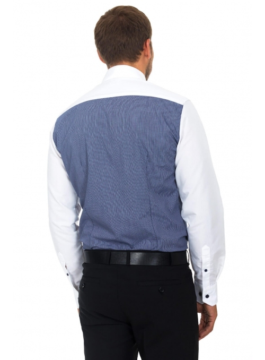 Рубашка бело-синяя в клетку