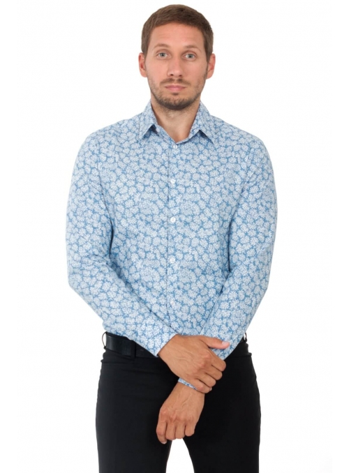 Shirt blue with flowers