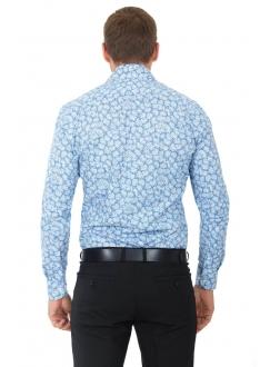 Рубашка голубая с цветами