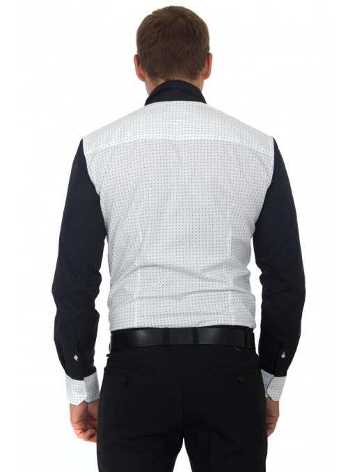 Shirt is white-black to the point