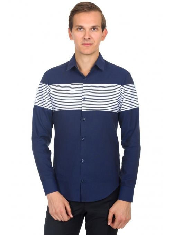 Сорочка синя в смужку