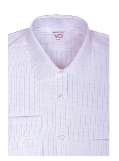 Рубашка белая в розовую клетку классическая