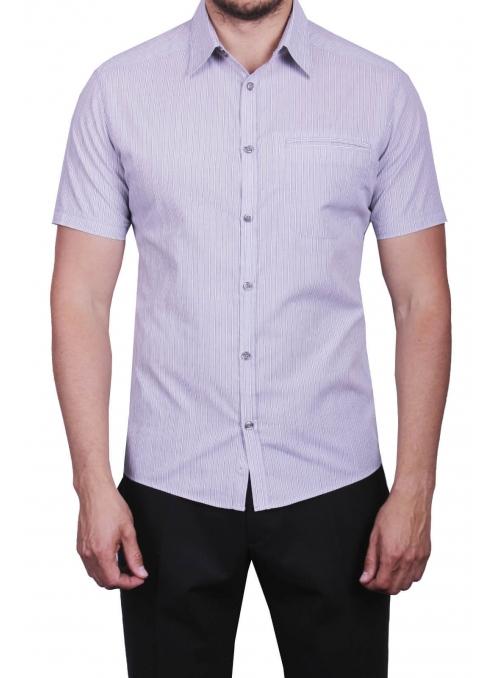 Рубашка повседневная серая в полоску