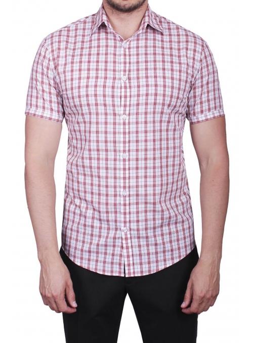 Рубашка повседневная белая в красную клетку