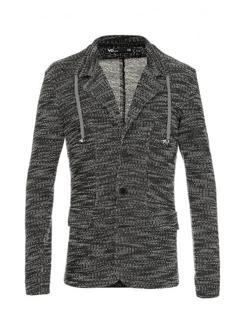 Пиджак хлопковый трикотажный черно-белый