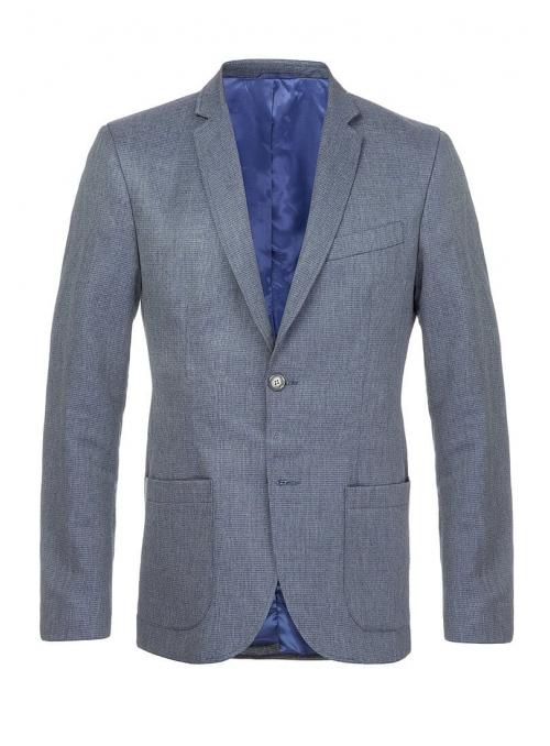 Пиджак льняной синий меланж