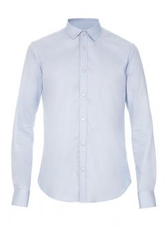 Рубашка повседневная голубая однотонная
