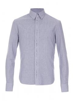 Рубашка повседневная синяя однотонная